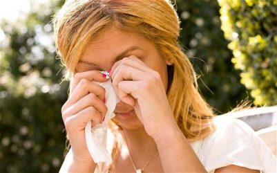 Itchy eyes caused by hay fever